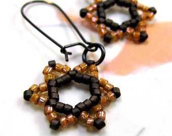 PROPHECY star of david earrings, beadwoven judaica stars, orange brown beads, jewish magen david, solid brass findings