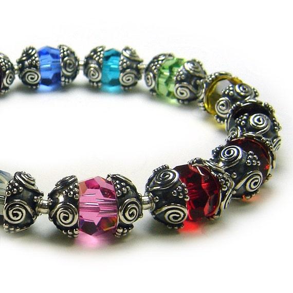 RAINBOW cancer awareness bracelet, rainbow swarovski beads, LGBT pride jewelry, sterling silver spiral beads