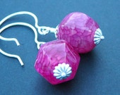 Dark Pink, Cerise Agate Earrings - Passion