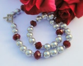 Silver Glass Beads With Large Multi Faceted Red Rondelles, Necklace