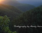 Sunset Accross The Grose Valley, Grose Vale, New South Wales, Australia, 8x6 Photograph