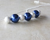 Deep Blue Pearl Glass Bead Necklace On Sterling Silver Wire, Attached To A Sterling Silver Chain