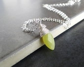 Olive Jade Marquise Wire Wrapped On A Sterling Silver Chain, Necklace