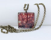 Sunrise Through The Trees, Square Pendant Necklace, Vintage Bronze, Photography, Photo Jewelry