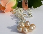Peach Freshwater Pearl Cluster Necklace