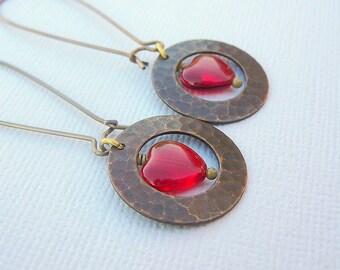 Red Brassy Earrings