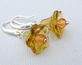 Amber Autumn Flower Blossoms Earrings