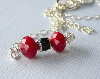Cherry Red And Black Dumbell Necklace