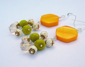 Yellow Mother Of Pearl Earrings With An Added Cluster Of Czech Glass
