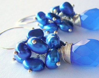 Sterling Silver Wire Wrapped Earrings With Cobalt Blue Chalcedony Briolette Topped With A Cluster Of Blue Freshwater Pearls