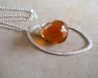 Medeira Citrine Briolette Necklace With Sterling Silver Brushed Texture Marquis Oval And Sterling Silver Chain