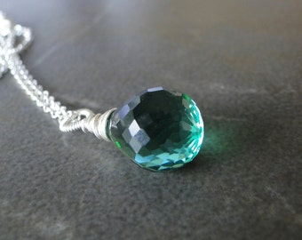 Green Amethyst Briolette Wire Wrapped Necklace On A Sterling Silver Chain
