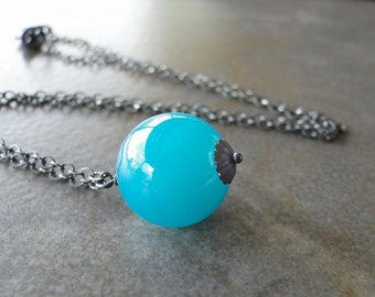 Dark, Turquoise Green Glass Bead On An Oxidized Sterling Silver Chain