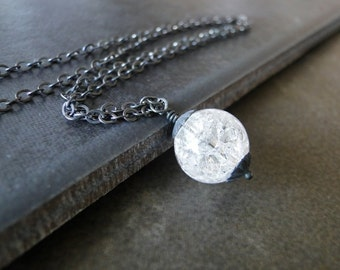 Quartz Crystal On An Oxidized Sterling Silver Chain