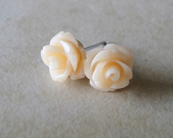 Apricot, Peach Carved Rose Silver Plated Studs