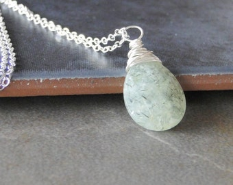 Green Tourmalinated Quartz, Wire Wrapped On A Sterling Silver Chain