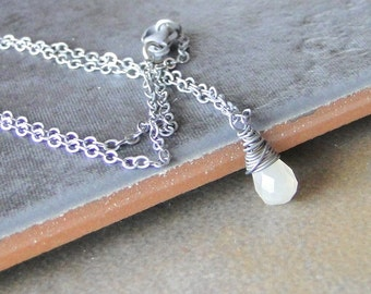 Grey Moonstone Necklace, Briolette, Wire Wrapped and Oxidized Sterling Silver Necklace
