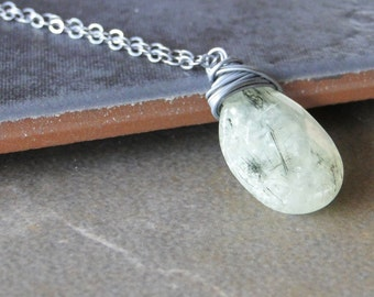 Green Tourmalinated Quartz Necklace, Oxidized Sterling Silver, Wire Wrapped On A Sterling Silver Chain (369)