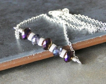 Purple And Lilac Glass Crystals With Sterling Silver Corrugated Rondelles, Sterling Silver Necklace