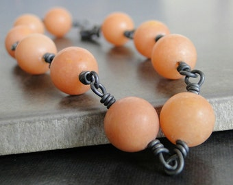 Peach Quartz Bracelet With Oxidized Sterling Silver