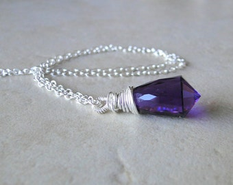Multi Facted Amethyst Necklace, Wire Wrapped On A Sterling Silver Chain (401)