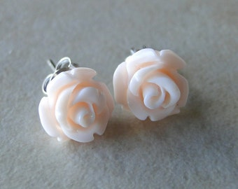 Pastel Pink Carved Rose Silver Plated Studs