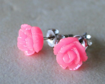 Pink Carved Rose Silver Plated Studs