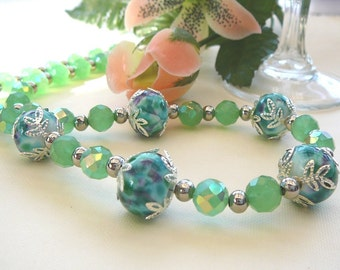Green Lampwork Accompanied By Celestial Crystals  Necklace