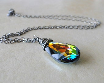 Wire Wrapped Necklace On A Sterling Silver Chain, Multi Coloured Swarovski Crystal  Briolette,  (429)
