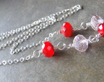Red And Pink Glass Crystal, Wire Wrapped Necklace