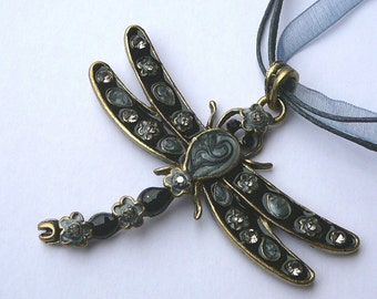 Giant Dragonfly Necklace, Black Dragonfly