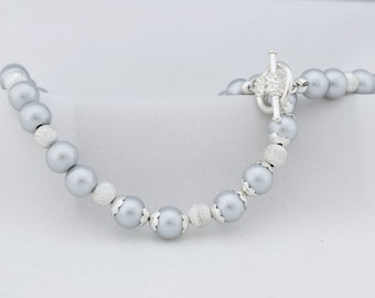 Choker Silver Pearl Glass Necklace, Wedding Jewelry