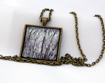 Out In The Woods Pendant, Antiqued Brass, Photography, Necklace, Photo Jewelry