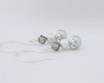 Dangling Silver Glass Pearl Earrings, Wedding Jewelry