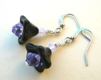 Black And Purple Flower Earrings