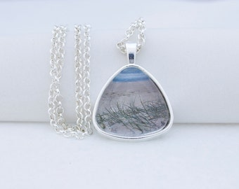 Beach Grass Pendant Necklace, Shiny Silver Tone, Photography, Photo Jewelry, Triangle Pendant, Vacation