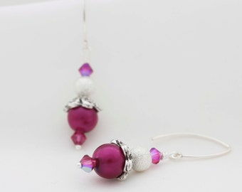 Burgundy Glass pearlised Earrings With Sparkling Burgundy Swarovski Crystal And Silver Bead