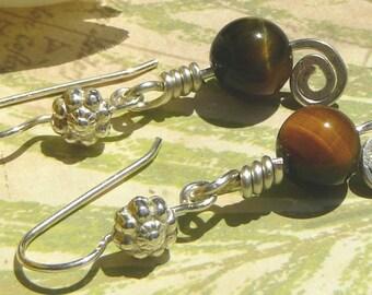Tiger Eye Wire Wrapped Earrings, Sterling Silver