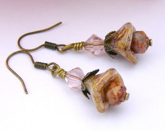Autumn Browns And Pink Whispers, Earrings