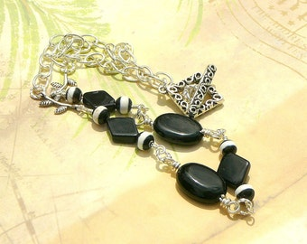 Black And White Chain Necklace, With A Hint Of Thai