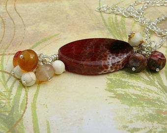 Fire Agate Pendant Necklace