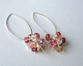 Red And Golden Shades Czech Glass Earrings - Summer Fun