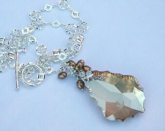 Golden Large Swarovski Crystal Necklace