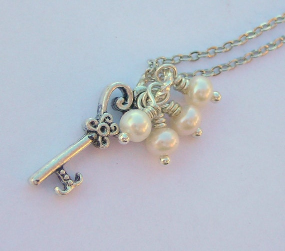 Antiqued Key With A Cluster Of Freshwater Pearls Necklace