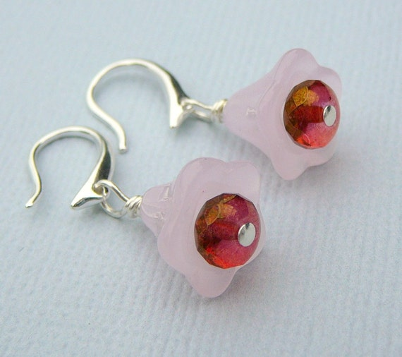 Cherry On The Bottom Earrings With Frosted Trumpet Flowers