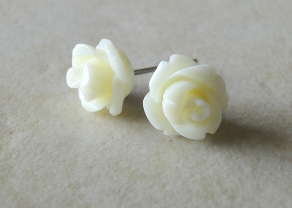 Cream, Off White Carved Rose Silver Plated Studs