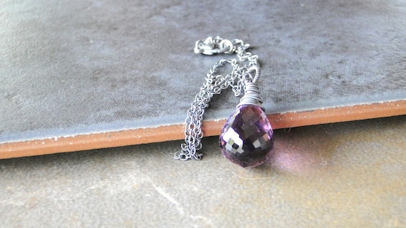 Amethyst Briolette Necklace, Sterling Silver Necklace, Wire Wrapped And Oxidized (366)