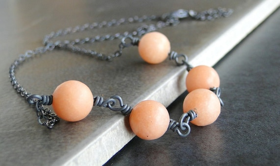 Peach Quartz Necklace With Oxidized Sterling Silver Chain And Wire Wrapped Wire