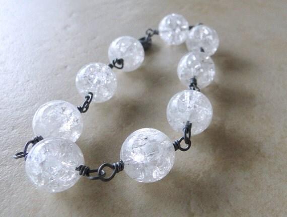 Quartz Crystal Bracelet With Oxidized Sterling Silver