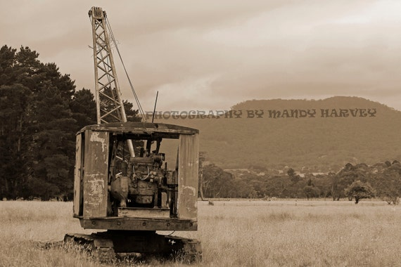 The Old Rusty Crane, Hartley, New South Wales, Australia, Sepia, 9x6 inch print